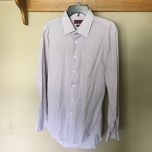 Men's blue and red striped dress shirt